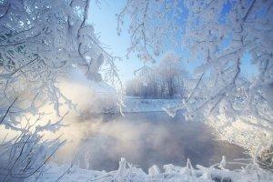 обои зима в городе для рабочего стола
